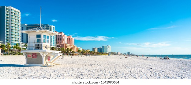 Clearwater beach with beautiful white sand in Florida USA