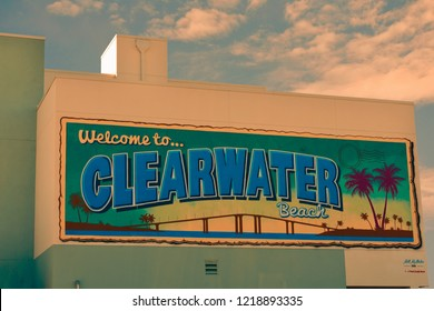 Clearwater Beach, Florida. October 18, 2018 Welcome to Clearwater Beach wall mural in Piere 60 area.