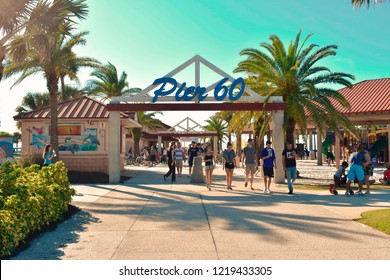 Clearwater Beach, Florida. October 18, 2018 Piere 60 boardwalk main entrance.