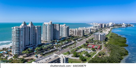 Clearwater Beach Florida skyline from the air. Aerial drone