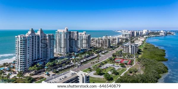 Clearwater Beach Florida Skyline aus der Luft. Lufttrockner