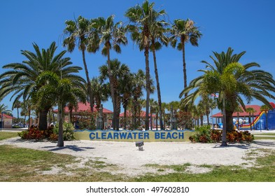 CLEARWATER BEACH, FLORIDA, USA - 18 May 2013: Welcome Sign in front of palm trees at Clearwater beach. Clearwater beach is a popular tourist destination on the Gulf coast of Florida