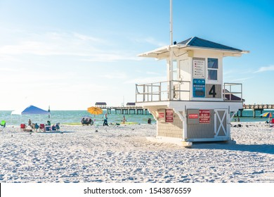 Clearwater beach, Florida, USA - September 17, 2019: Lifeguard tower on Beautiful Clearwater beach with white sand in Florida USA