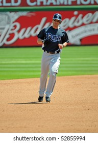 CLEARWATER, FL - MARCH 23: Tampa Bay Rays outfielder Justin Ruggiano rounds the bases in a spring training game on  March 23, 2010 in Clearwater, FL