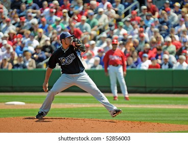 CLEARWATER, FL - MARCH 23: Tampa Bay Rays pitcher Matt Garza delivers a pitch in a spring training game on March 23, 2010 in Clearwater, FL.