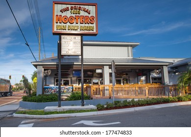 CLEARWATER, FL - SEPT. 6, 2013: The Original Hooters restaurant in Clearwater Florida.  This restaurant chain opened at this location in 1983.
