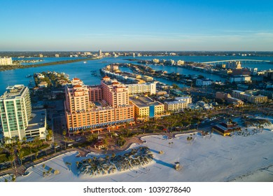 CLEARWATER, FL, USA - FEBRUADY 14, 2018: Aerial image of Clearwater Beach Florida resorts and condominium apartments