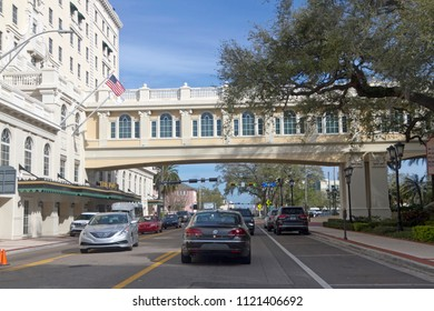 CLEARWATER, FLORIDA, USA - FEBRUARY 7, 2018: Interesting architecture on a shady street in downtown Clearwater, Florida, a popular spot for tourists escaping winter