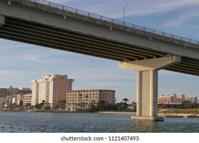 CLEARWATER, FLORIDA, USA - FEBRUARY 7, 2018: Clearwater Pass Bridge in Clearwater, Florida around sunset, an award-winning construction with 21 spans of 120 feet each and a 74′ vertical clearance