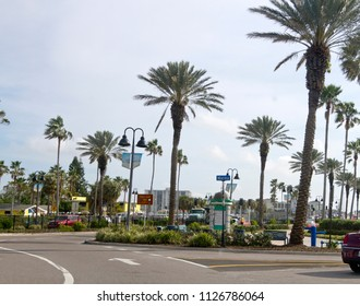 CLEARWATER, FLORIDA, USA - FEBRUARY 7, 2018: Downtown Clearwater Marina area with palm trees, colorful buildings and lots of bright sunshine.  Clearwater is a popular spot for tourists and retirees