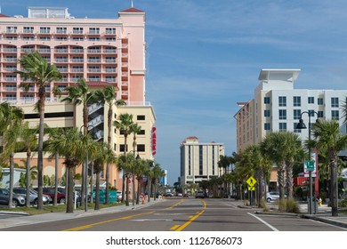 CLEARWATER, FLORIDA, USA - FEBRUARY 7, 2018: Downtown Clearwater, Florida with palm trees, colorful buildings and lots of bright sunshine.  Clearwater is a popular spot for tourists and retirees