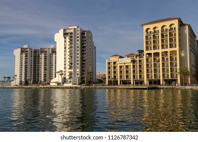 CLEARWATER, FLORIDA, USA - FEBRUARY 7, 2018: View of buildings near sunset on Clearwater Bay, Florida viewed from the water