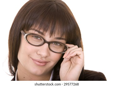 Cleaver smiling girl in  spectacles. Isolated.