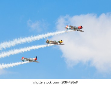 CLEETHORPES, ENGLAND JULY 27TH: Aerostars perform an aerobatic display at Cleethropes airshow on 27th July 2014 in Cleethorpes England.