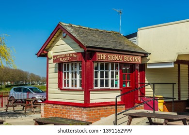 Cleethorpes, Lincolnshire, UK,  March 29, 2019: The Signal Box Inn, also known as the Smallest Pub on the Planet.