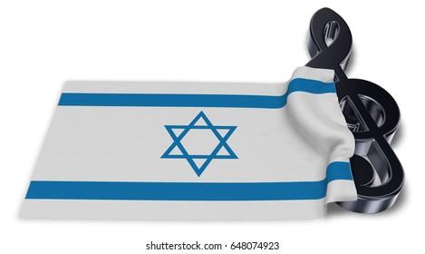 clef symbol symbol and flag of israel - 3d rendering