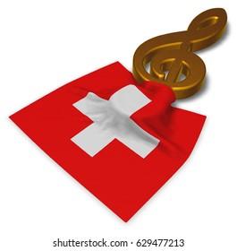 clef symbol symbol and swiss flag - 3d rendering