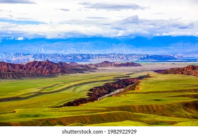 A cleft in a mountain valley. Mountain valley cleft landscape. Cleft in mountain valley - Shutterstock ID 1982922929