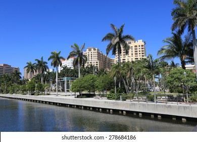The Clematis Docks in downtown West Palm Beach offers a wonderful view of the pedestrian walkway along Lake Worth