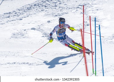 CLEMENT NOEL FRA takes part in the RACE run for the men´s Slalom race of the FIS Alpine Ski World Cup Finals at Soldeu-El Tarter in Andorra, on March 17, 2019.