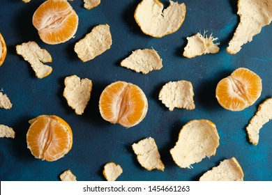 Clementine oranges top view with peel.