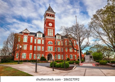 CLEMSON, SC - APRIL 8, 2014: Tillman Hall at Clemson University. The landmark is listed on the National Register of Historic Places.