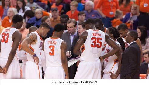 Clemson, SC - January 9, 2014 Clemson coach Brad Brownell tries to rally the troops during a timeout