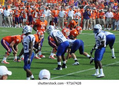 CLEMSON, SC - SEPT. 11: Clemson's Tajh Boyd at the line of scrimmage on September 11, 2010 in Clemson, South Carolina.  Clemson defeated Presbyterian 58-21.