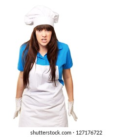 Clench Of Woman Cook On White Background