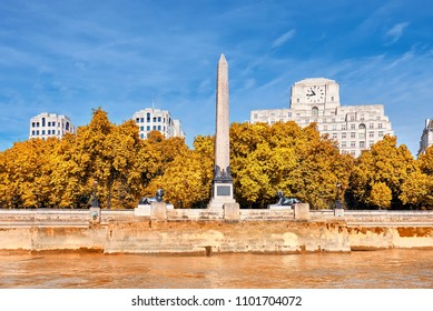 Cleopatra's Needle, an ancient Egyptian obelisk on Victoria Enbankment in London, England