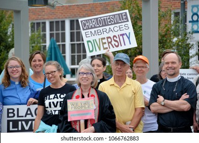 Clergy and counter protesters assemble at Jefferson School African American Heritage Center before moving to Downtown Charlottesville, VA August 12, 2017 to oppose a white nationalist rally.