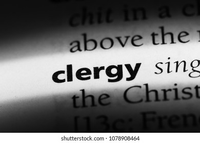 clergy word in a dictionary. clergy concept