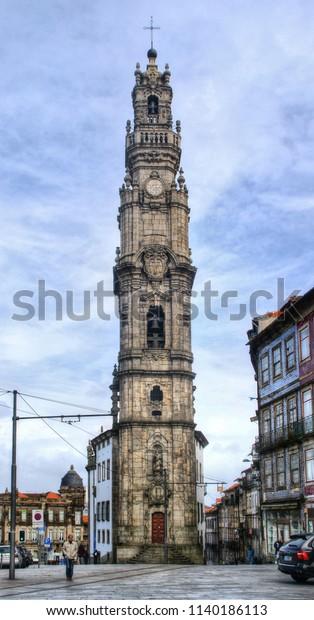 Clerigos Tower in Oporto, Portugal