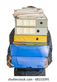A clerk carrying a huge stack of boxes, folders, binders and papers, which hide him, isolated over white background