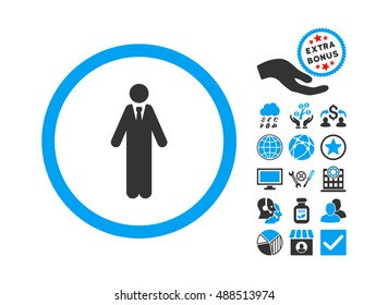 Clerk pictograph with bonus clip art. Glyph illustration style is flat iconic bicolor symbols, blue and gray colors, white background.
