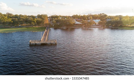 """Clermont, FL / USA 11-15-2017: Aerial view of a public dock on Lake Minneola."""