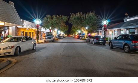 """Clermont, FL / USA - 11-21-2019: The Christmas lights are shinning bright in Downtown Clermont."""