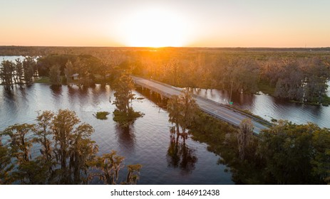 """""""Clermont, FL / USA - 11/3/2020: Aerial shot of the 561 bridge on the Clermont Chain of Lakes."""""""