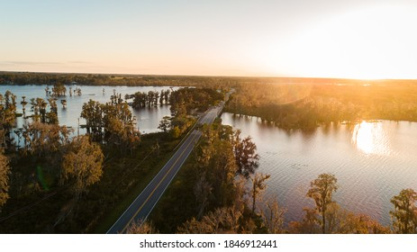 """""""Clermont, FL / USA - 11/3/2020: Drone view near the 561 bridge on the Clermont Chain of Lakes."""""""