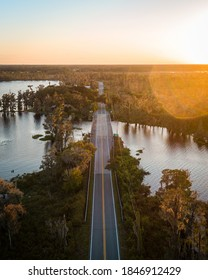"""""""Clermont, FL / USA - 11/3/2020: Vertical shot of the 561 bridge on the Clermont Chain of Lakes."""""""