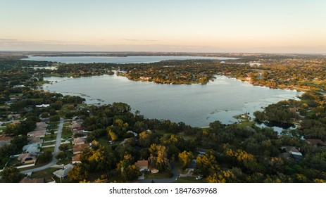 """""""Clermont, FL / USA - 11-4-2020: Drone view of the beautiful Crescent lake of the Clermont Chain of Lakes."""""""