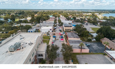 """""""Clermont, FL / USA - 1/20/2019: Aerial view of the farmer's market in downtown Clermont, FL."""""""