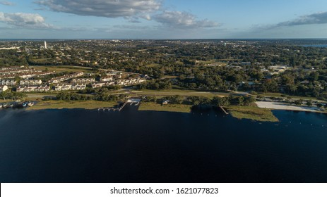 """Clermont, FL / USA - 1-9-2020: Aerial imagery of the city of Clermont's newly completed boat ramp."""