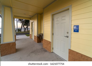 """Clermont, FL / USA - 1-9-2020: Clean bathrooms at the city of Clermont's newly completed boat ramp."""