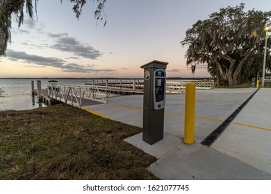 """Clermont, FL / USA - 1-9-2020: Pay meter at the city of Clermont's newly completed boat ramp."""
