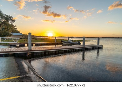 """Clermont, FL / USA - 1-9-2020: Sunset view of the city of Clermont's newly completed boat ramp."""
