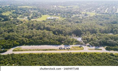 """Clermont, FL / USA - 7-23-2019: Drone photo of Palatlakaha river park & boat ramp."""