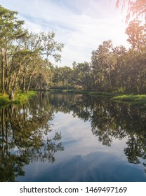 """""""Clermont, FL / USA - 7-23-2019: Sun peeking through the trees at the Crooked River near the Palatlakaha River Park and Boat Ramp."""""""