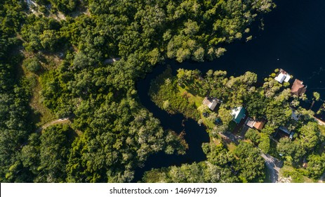 """""""Clermont, FL / USA - 7-23-2019: Top Down Drone photo of Palatlakaha river park & boat ramp."""""""