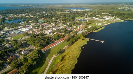 """Clermont, FL / USA - 8-24-2020: Aerial view from the north east corner of downtown Clermont."""